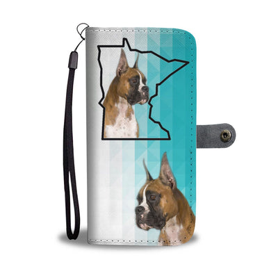 Boxer Dog Print Wallet Case-Free Shipping-MN State