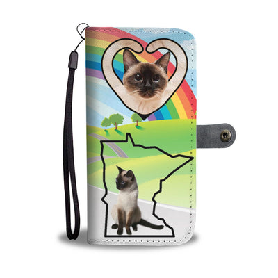 Siamese Cat Print Wallet Case-Free Shipping-MN State