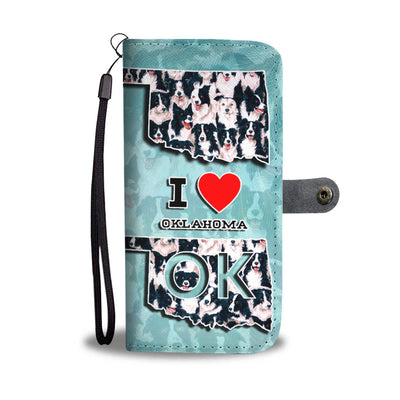 Border Collie Dog In Lots Print Wallet Case-Free Shipping-OK State