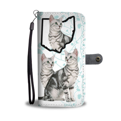 Cute American Shorthair Cat Print Wallet Case-Free Shipping-OH State