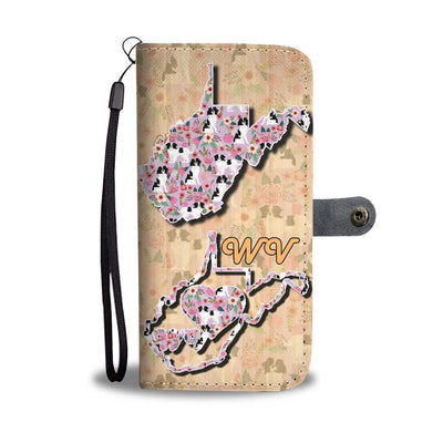 Japanese Chin Floral Print Wallet Case-Free Shipping-WV State