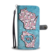 Cute Japanese Chin Floral Print Wallet Case-Free Shipping-WI State
