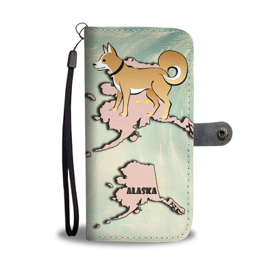 Brown Eskimo Dog Print Wallet Case-Free Shipping-AK State