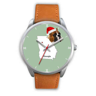 Boxer Dog Georgia Christmas Special Wrist Watch-Free Shipping