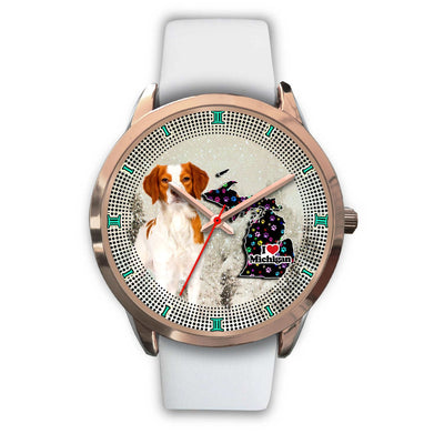 Brittany Dog With Paws Michigan Christmas Special Wrist Watch-Free Shipping