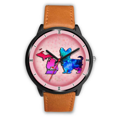 Yorkie Dog Art Michigan Christmas Special Wrist Watch-Free Shipping