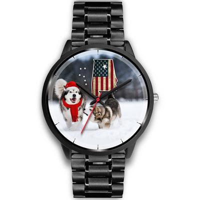 Alaskan Malamute Dog Alabama Christmas Special Wrist Watch-Free Shipping