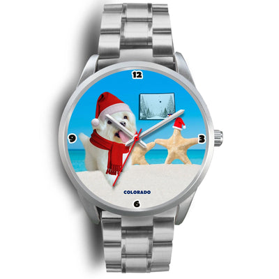 Maltese dog Colorado Christmas Special Wrist Watch-Free Shipping