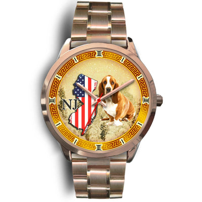Basset Hound New Jersey Christmas Special Rose Gold Wrist Watch-Free Shipping