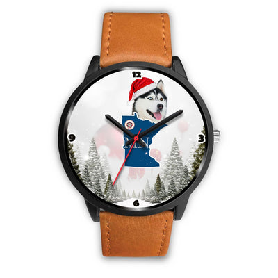 Siberian Husky Dog Minnesota Christmas Special Wrist Watch-Free Shipping