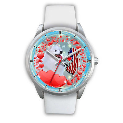 Laughing American Eskimo Dog New Jersey Christmas Special Wrist Watch-Free Shipping