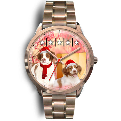Brittany Dog Christmas Special Golden Wrist Watch-Free Shipping