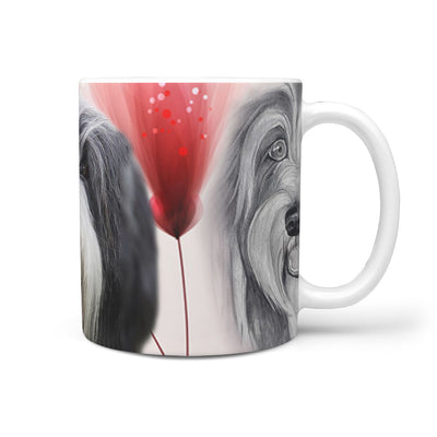 Bearded Collie Print 360 White Mug