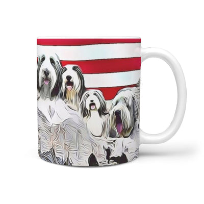 Bearded Collie Mount Rushmore Print 360 White Mug