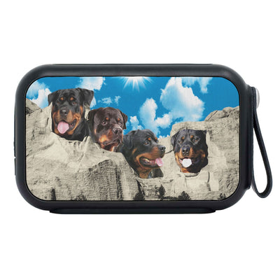 Rottweiler Dog On Mount Rushmore Print Bluetooth Speaker