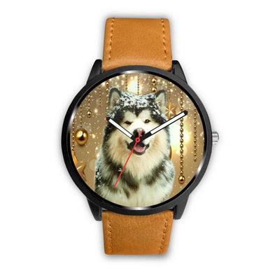 Alaskan Malamute Dog Golden Print Wrist Watch - Free Shipping