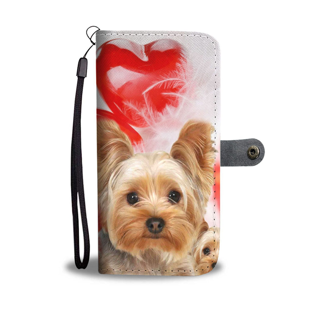 Yorkshire Terrier On Red Heart Print Wallet Case-Free Shipping