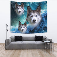 Siberian Husky On Ocean Print Tapestry-Free Shipping