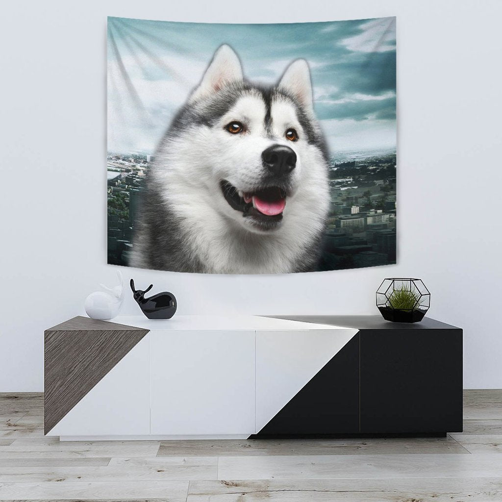 Laughing Siberian Husky Print Tapestry-Free Shipping