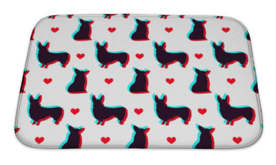 Bath Mat, Corgi Dog With 3d Effect Pattern For Use In Design
