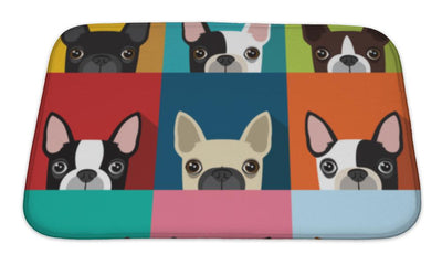 Bath Mat, Boston Terrier Pattern