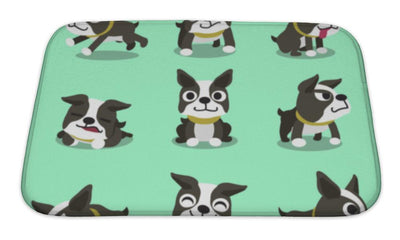 Bath Mat, Cartoon Character Boston Terrier Dog Poses