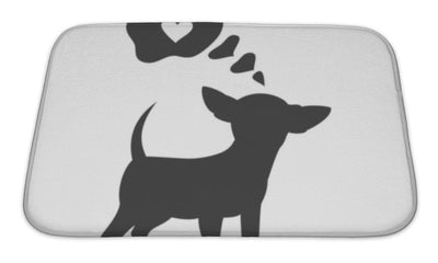 Bath Mat, Silhouette Of Chihuahua With Bubble On The White