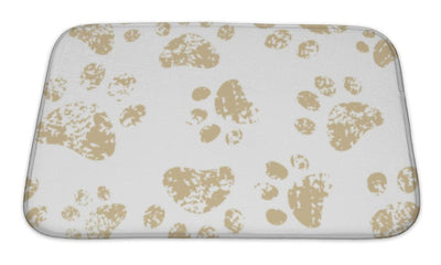 Bath Mat, Cat Or Dog Brown Paw Prints On White Pattern