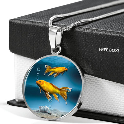 Butterfly Koi Fish Print Luxury Circle Necklace -Free Shipping