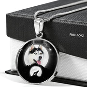 Siberian Husky Dog Print Circle Pendant Luxury Necklace-Free Shipping