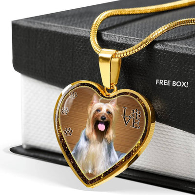 Australian Silky Terrier Dog Print Heart Charm Necklaces-Free Shipping