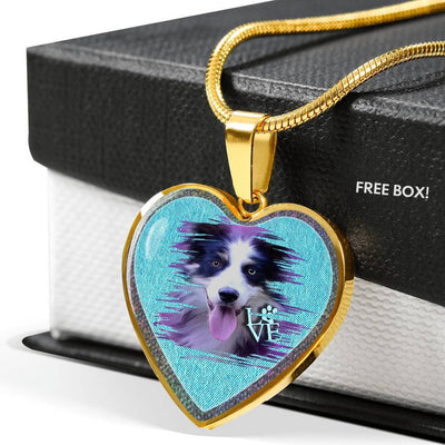 Border Collie Dog Art Print Heart Charm Necklaces-Free Shipping
