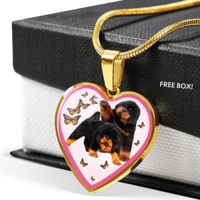 Tibetan Mastiff Dog Print Heart Pendant Luxury Necklace-Free Shipping