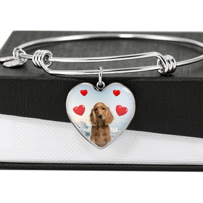 Cocker Spaniel Print Luxury Heart Charm Bangle-Free Shipping