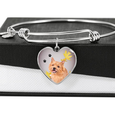 Cute Norwich Terrier Print Luxury Heart Charm Bangle-Free Shipping
