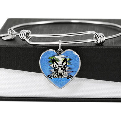 German Shepherd Dog Black Art Print Heart Pendant Bangle-Free Shipping