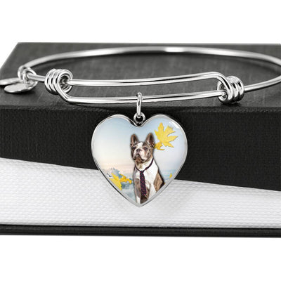 Boston Terrier Print Luxury Heart Charm Bangle-Free Shipping