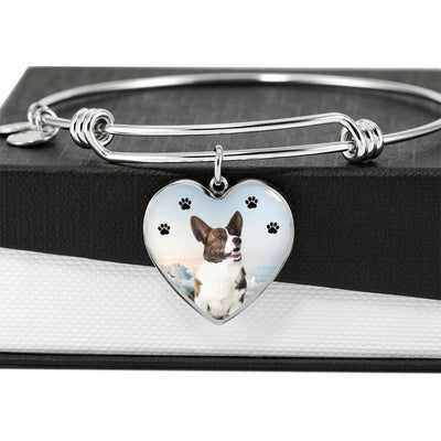 Cardigan Welsh Corgi Print Luxury Heart Charm Bangle-Free Shipping