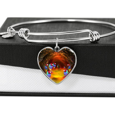 Gouldian Finch (Rainbow Finch) Print Heart Pendant Bangle-Free Shipping