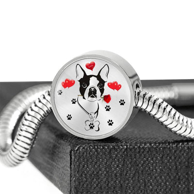Cute Boston Terrier Print Circle Charm Steel Bracelet-Free Shipping