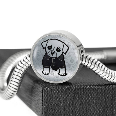 Cute Dog Art Print Circle Charm Steel Bracelet-Free Shipping