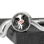 Cow Print Circle Charm Steel Bracelet-Free Shipping
