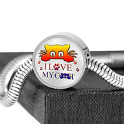 """ I Love My Cat"" Print Circle Charm Steel Bracelet-Free Shipping"