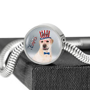 Labrador Retriever Texas Print Circle Charm Steel Bracelet-Free Shipping