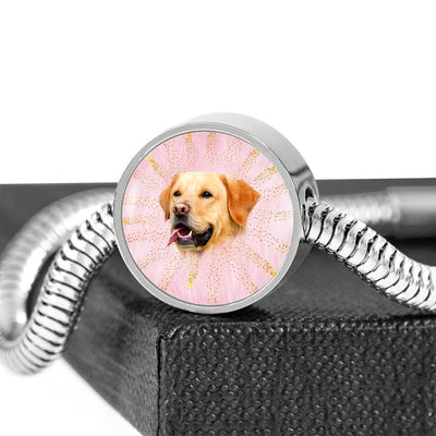 Labrador Retriever Dog Print Circle Charm Steel Bracelet-Free Shipping