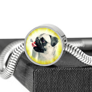 Cute Pug Dog Print Circle Charm Steel Bracelet-Free Shipping