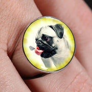 Cute Pug Dog Print Signet Ring-Free Shipping