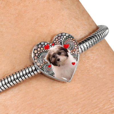 Cute Havanese Dog Print Heart Charm Steel Bracelet-Free Shipping