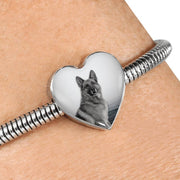 Lovely German Shepherd Print Heart Charm Steel Bracelet-Free Shipping