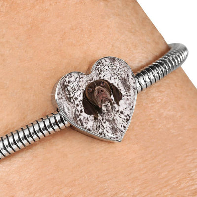 German Shorthaired Pointer Print Heart Charm Steel Bracelet-Free Shipping